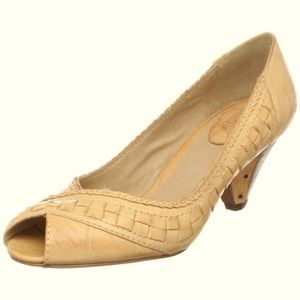 Frye Maya Straw Woven Peep Toe Low Heels Size 9.5